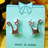 Silver long tail cat earrings cat, cat, cat (japan import)