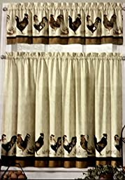 Rooster Country Kitchen Window Curtain Set 3 Pc