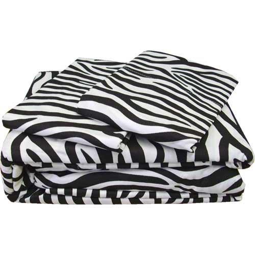 4pc Zebra Stripes Animal Print Bedding Queen Sheet Set