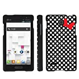 Mobiflare LG Optimus L9 P769 Black/White Polk-a-Dots with Bow Slim Guard Protect Artistry Design Case