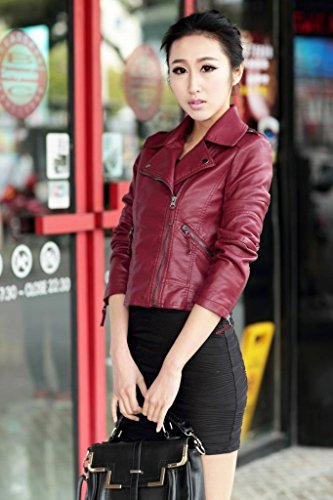 Womens Pu Faux Leather Slim Fit Zip Up Moto Biker Jacket Coat 10 Burgundy