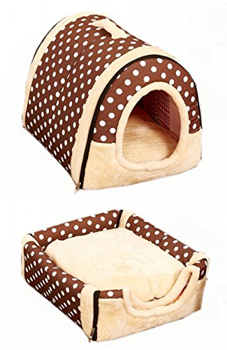 pet-dog-cat-foldable-soft-house-removable-pet-bed-dog-bed-with-mat-travel-dog-bed-pet-bag-polka-dott