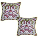 Flower Hand Embroidered Cotton Pillow Cushion Cover 17 Inches 2 Pcs