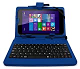 DURAGADGET Deluxe Blue Keyboard Folio Case for the NEW Linx 7-inch Tablet - Eco-Friendly Faux Leather with Built-In Stand and FREE Stylus