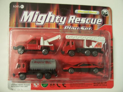 Die-cast Metal 4 Piece Mighty Rescue Play Set ~ Fire Department (Tow Truck, Ladder Truck, Oil Truck, Speedster Car)