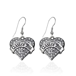 Class Of 2016 Pave Heart Earrings French Hook Clear Crystal Rhinestones