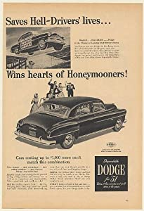 1951 Dodge Car Irish Horan Lucky Hell Drivers Show Wins Hearts Honeymooners Print Ad (Memorabilia) (56490)