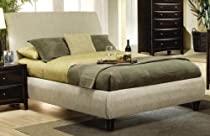 Big Sale Queen Size Platform Bed in Beige Fabric