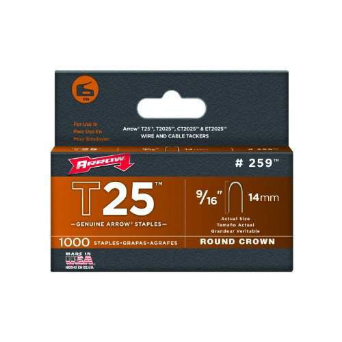 Arrow 259 Genuine T25/T2025 9/16-Inch Staples, 1,000-Pack