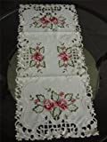 16×36″ Embroidered Rose Floral Table Dining Runner Linen TableClothes Cutwork Home Office Hotel decor thumbnail