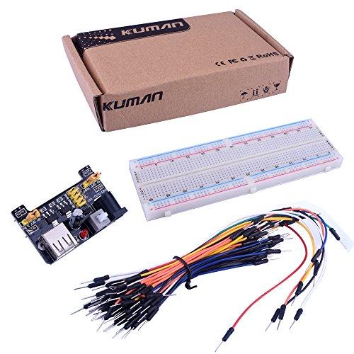 Starter KIT per Arduino Kuman MB-102 - Breadboard con 830 punti di aggancio + modulo di alimentazione 3.3V 5V + 65 cavi jumper K3