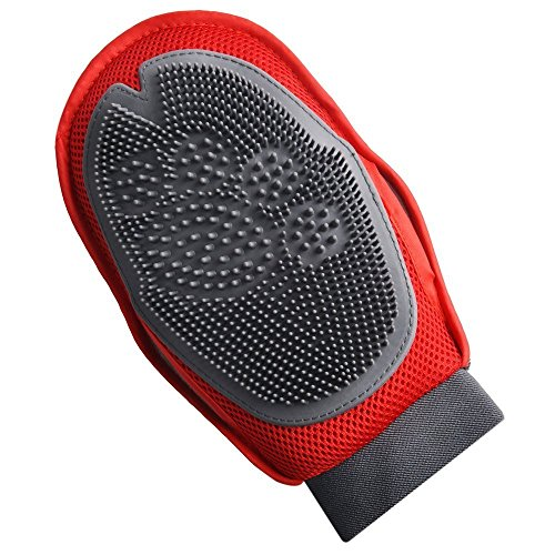 Joy Beans Pet Grooming Brush Gloves - Dog & Cat Hair Removal Glove And Deshedding Tool For Long And Short Hairs, Gentle Massage & Bathing Mitt. (Red) (Hair Bean Detangling Brush compare prices)