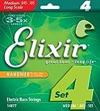 Elixir Satz E-Bass Saiten (ultradünne Nanoweb-Beschichtung, Long Scale, 4 Saiten, Medium 0.045 – 0.105)