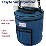 Yarn Storage Bag for Ultimate Organization. Portable, Lightweight and Easy to Carry Knitting/Crochet Yarn Holder with Pockets for Accessories and Slits on Top to Protect Wool and Prevent Tangling.