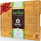 EXTRA LARGE Organic Bamboo Cutting Board with Juice Groove - Best Kitchen Chopping Board for Meat (Butcher Block) Cheese and Vegetables | Anti Microbial Heavy Duty Serving Tray w/ Handles - 18 x 12