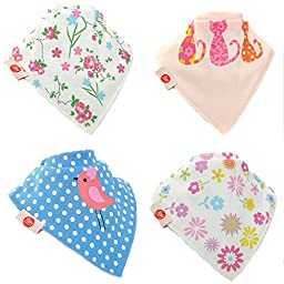 Zippy Fun Baby and Toddler Bandana Bib - Absorbent 100% Cotton Front Drool Bibs with Adjustable Snaps (4 Pack Gift Set) Cool Girls