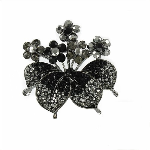 Flower & Leaves Design with Stone Brooch #033517