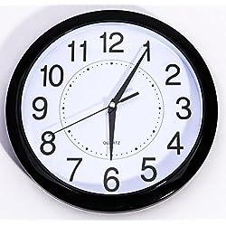 Bekith Non Ticking 11 1/2-Inch Round Quartz Wall Clock, Black, 1/Box