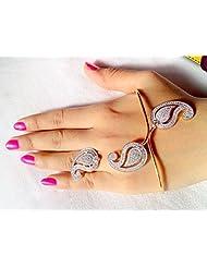 Ashiana Designer Statement American Diamond Ambi Shaped Palm Bracelet With Ring (Single)