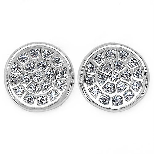 1.40 Grams Micro Pave Setting American Diamond Rhodium Plated Copper Round Shape Earrings