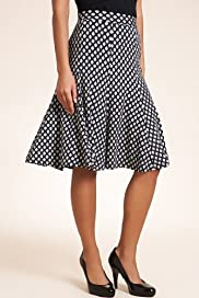 Knee Length Double Diamond Print Jersey Skirt [T57-4555-S]