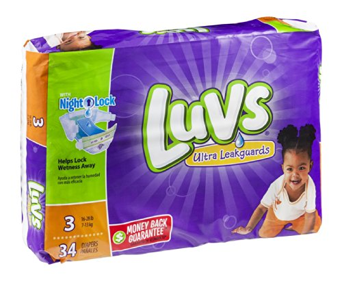 Luvs Diapers Ultra Leakguards Night Lock 3 16-28 lb 34 CT (Pack of 12) - 1
