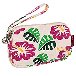 Bungalow360 Womens Canvas Coin Pouch Wallet (Hibiscus Flower)