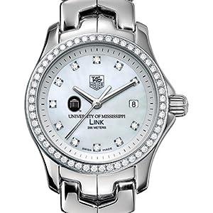 Ole Miss TAG Heuer Watch - Women's Link Watch with Diamond Bezel
