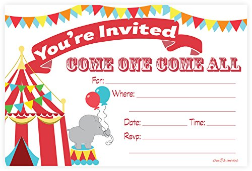 Buy Cheap Carnival Circus Invitations - Birthday Party or Baby Shower - Fill In Style (20 Count) Wit...