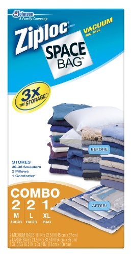 5 Pack of Space Bags - 2 Med, 2 Large, 1 XLarge (Ziploc Vaccum Bag compare prices)