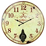 "Large 23"" Wall Clock with Pendulum ~ Antique French Provincial Style"