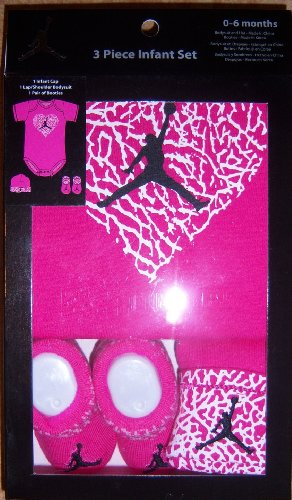 Nike Jumpman23 Jordan Girl Hot Pink 3 Piece Set, Includes: Bodysuit, Booties and Infant Cap. 0-6 Months