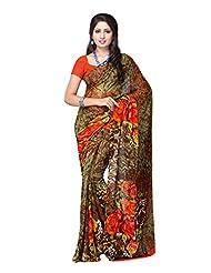 Fabdeal Green And Brown Georgette Printed Saree Sari Sarees