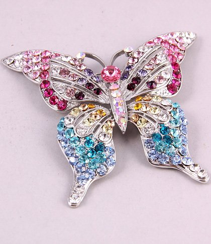 Big Size Butterfly Multi Color Rhinestone Brooch Pin ~ Fashion Jewelry