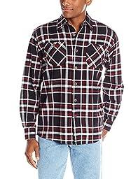 Wrangler Men\'s Authentics Long Sleeve Flannel Shirt,Caviar,Large