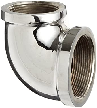 "Chrome Plated Brass Pipe Fitting, 90 Degree Reducing Elbow, 1/4"" X 1/8"" NPT Female"