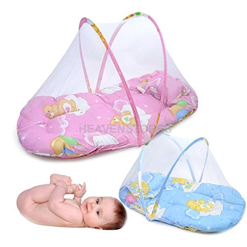 Portable Baby Bed Crib Folding Mosquito Net Infant Cushion Mattress Pillow front-48463