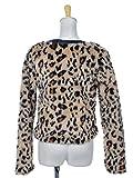 Anna-Kaci S/M Fit Brown Faux Leopard Fur Black Faux Leather Trim Zip Up Jacket