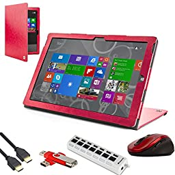 Arthur Premium Portfolio Carrying Magenta Case For Microsoft Surface Pro 4 / Pro 3 + 7-Port USB HUB + 8ft HDMI + 2.4Ghz Mouse + 4GB Flash Drive