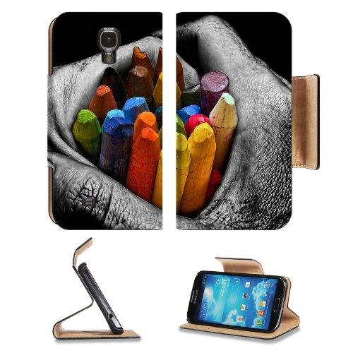 The Art Of Being Killed Crayons Hand Abstract Samsung Galaxy S4 Flip Cover Case With Card Holder Customized Made To Order Support Ready Premium Deluxe Pu Leather 5 Inch (140Mm) X 3 1/4 Inch (80Mm) X 9/16 Inch (14Mm) Liil S Iv S 4 Professional Cases Access front-927482
