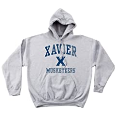 NCAA Xavier Musketeers 50 50 Blended 8-Ounce Vintage Mascot Hooded Sweatshirt,... by SDI