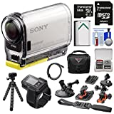 Action Cam HDR-AS100V Wi-Fi GPS HD Video Camera Camcorder with 32GB Card + Battery + Flat Surface & Helmet Mounts + Case + Tripod Kit