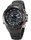 AMPM24 Herren Quarzuhr Sport Digital Analog Silikon Armband Datumanzeige LED174