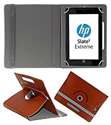 ECellStreet 360° Degree Rotating 7 Inch Flip Cover Diary Folio Case With Stand For Tescom Bolt 3 - Brown