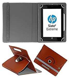 ECellStreet 360° Degree Rotating 7 Inch Flip Cover Diary Folio Case With Stand For datawind ubislate 7cx - Brown