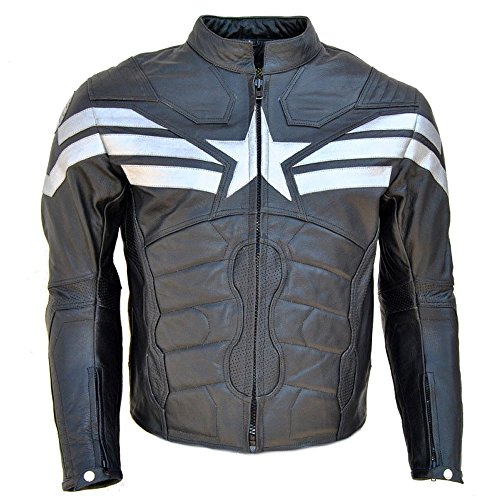 Coolhides Men's Captain Real Leather Winter Soldier Jacket Large Cow Black