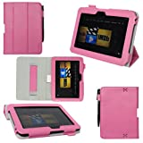 ProCase old generation Kindle Fire HD 7 Case - Tri-Fold Folio Stand Cover for Amazon Kindle Fire HD 7 Inch Tablet (2012 version) auto sleep /wake feature, hand strap (Pink) ~ ProCase