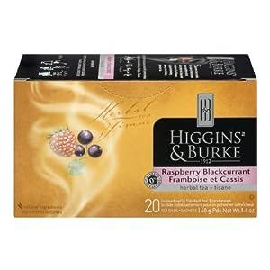 Higgins & Burke Herbal Tea, Raspberry Black Currant, 20-Count (Pack of 6)