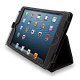 Snugg iPad Mini & Mini 2 Case - Smart Cover with Flip Stand & Lifetime Guarantee (Black Leather) for Apple iPad Mini & Mini 2 with Retina
