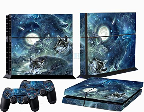 Richipy Stickers Full Moon Shining Lonely Night Wolf PS4 Sticker Skin Stickers + 2Pcs Controller Skin Console Protective (Ps4 Controller Protective Skin compare prices)